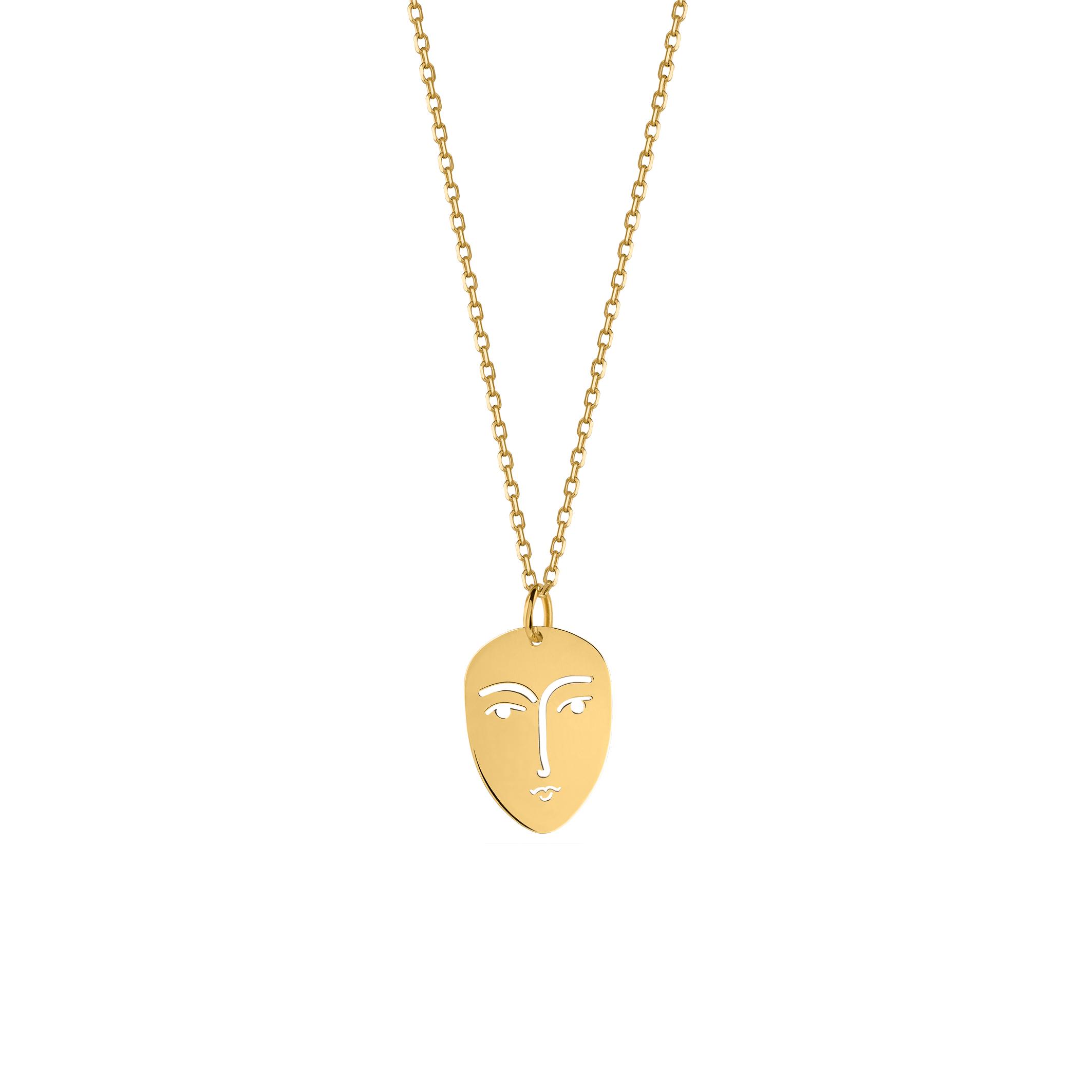 face necklace gold/mini