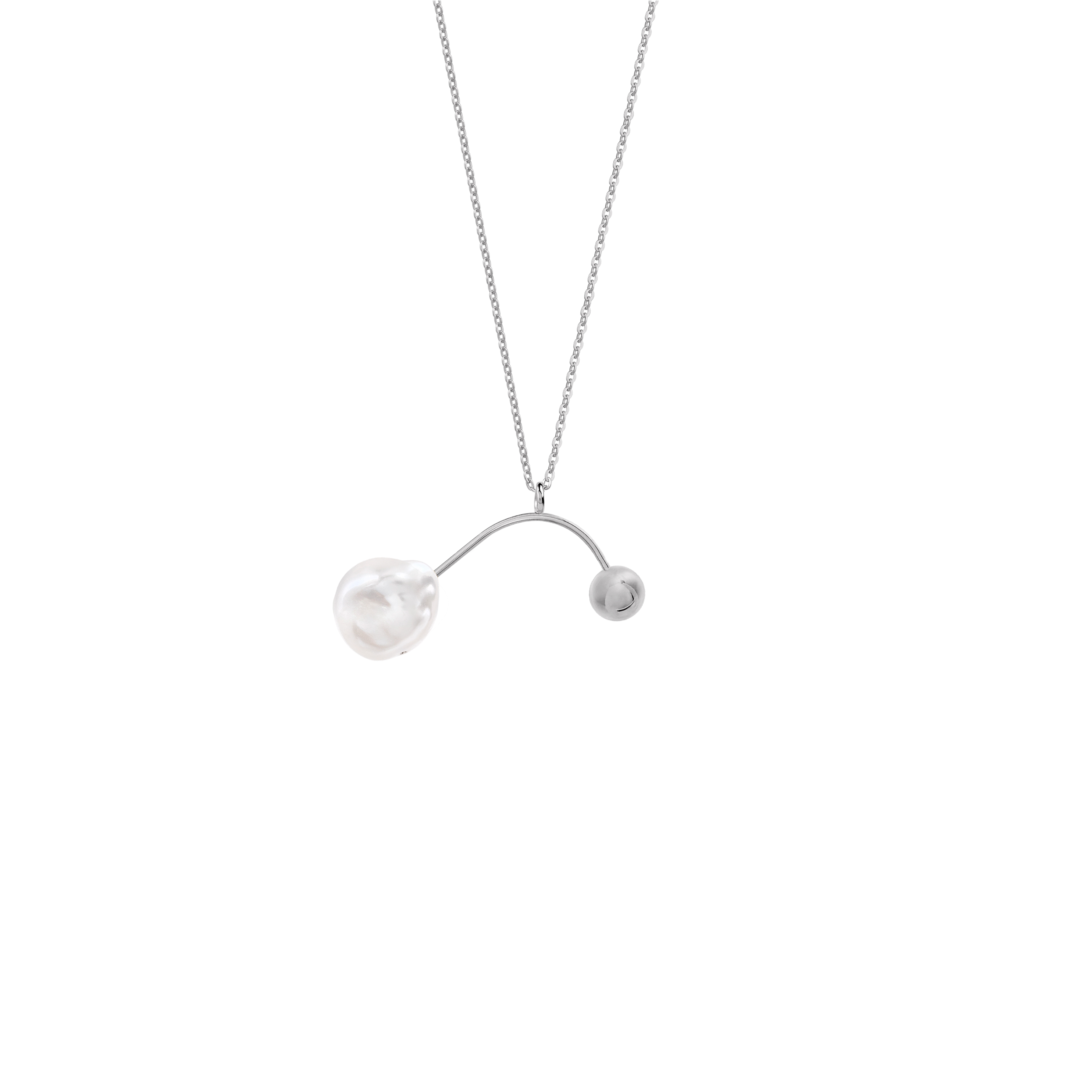 mobile pearl necklace/ silver