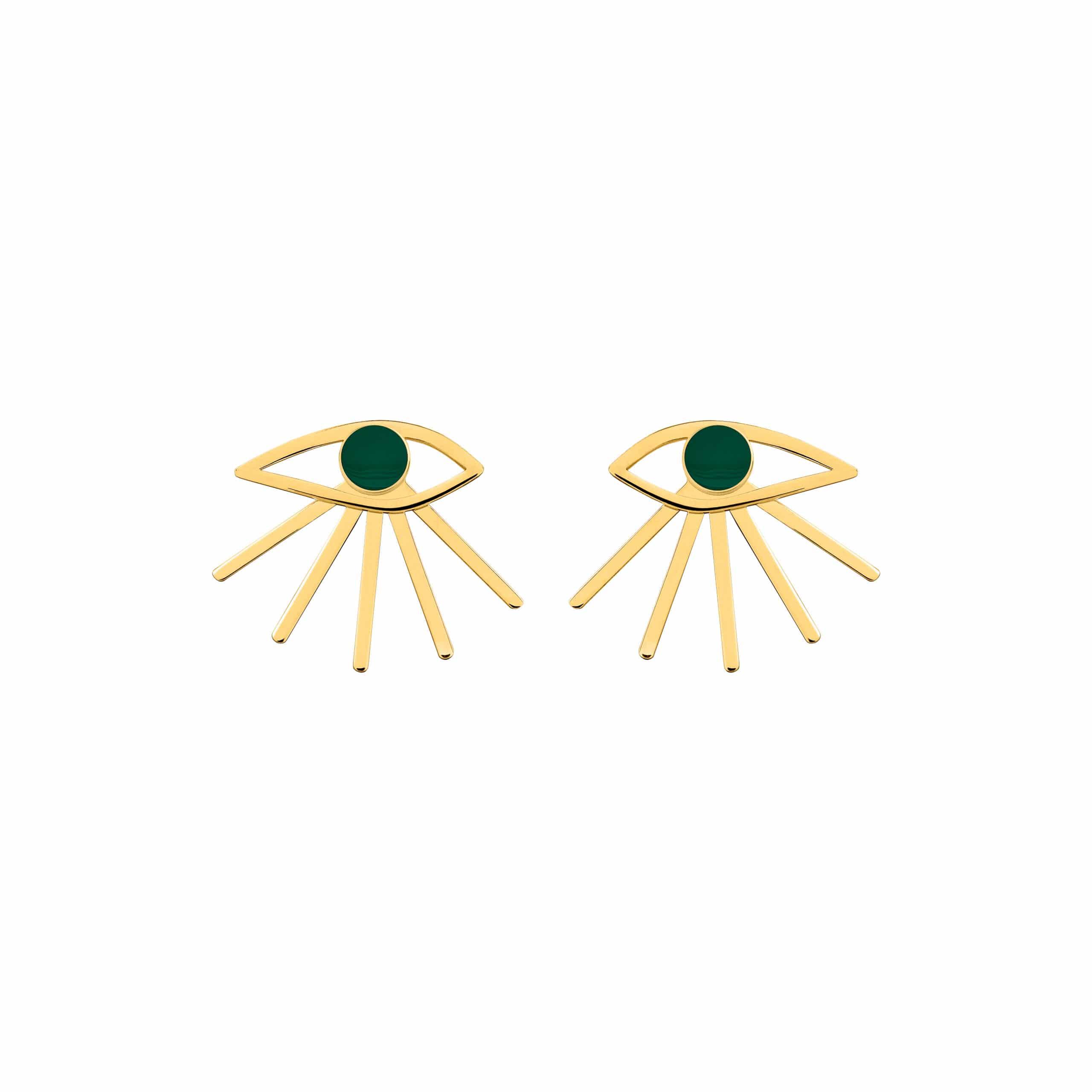 Mini Eye Earrings Green