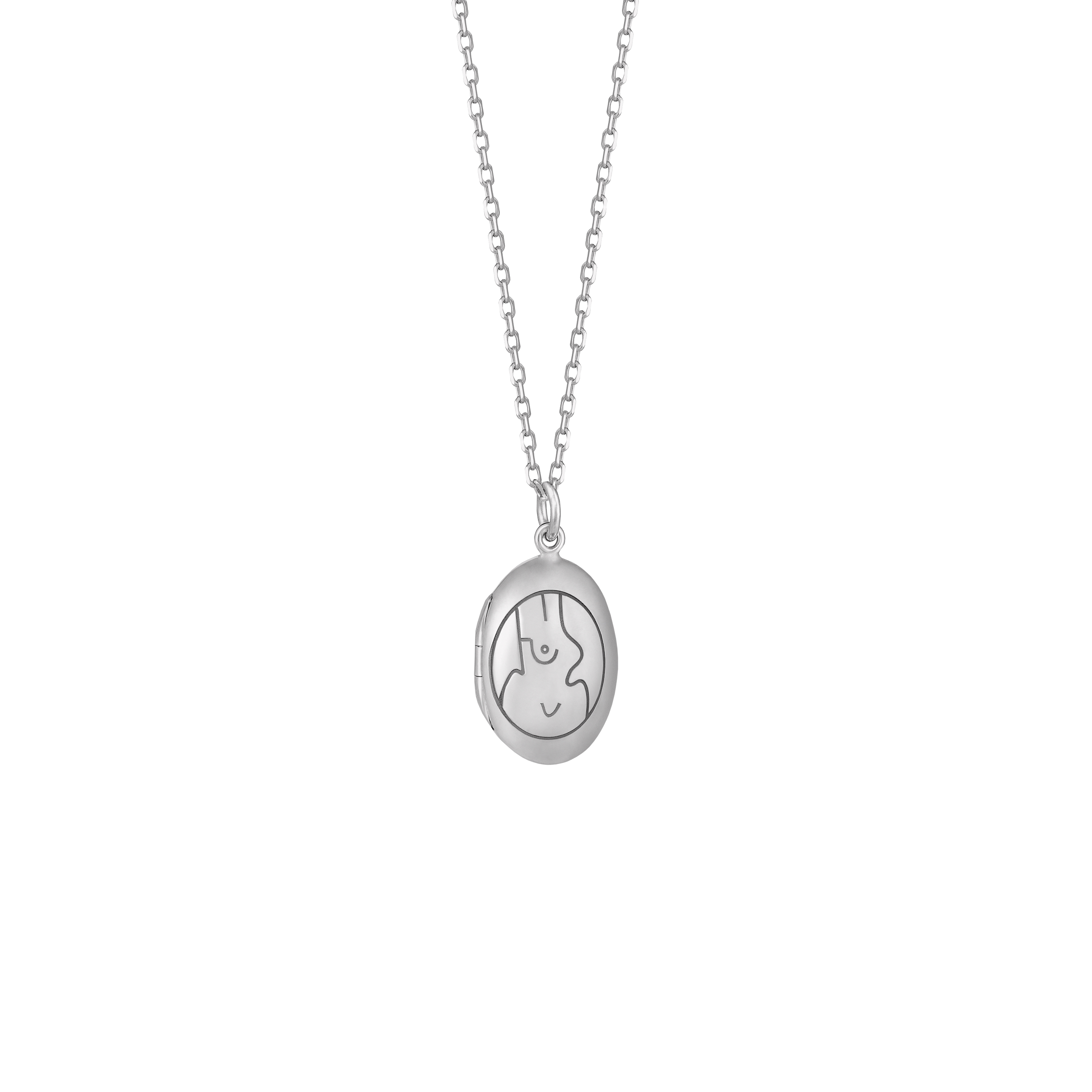 LOCKET NECKLACE MEDALION SILVER SMALL