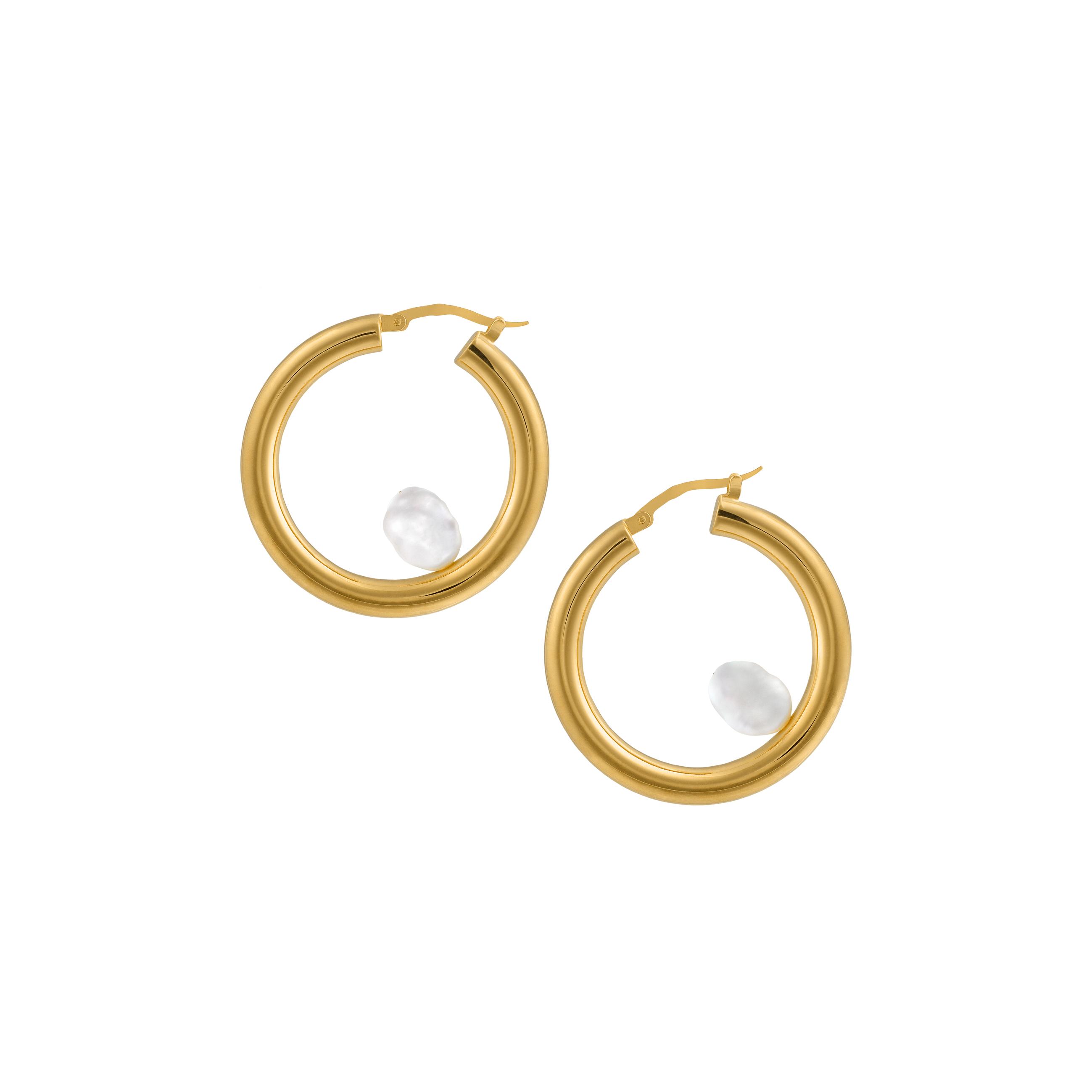 big hoop pearl/gold