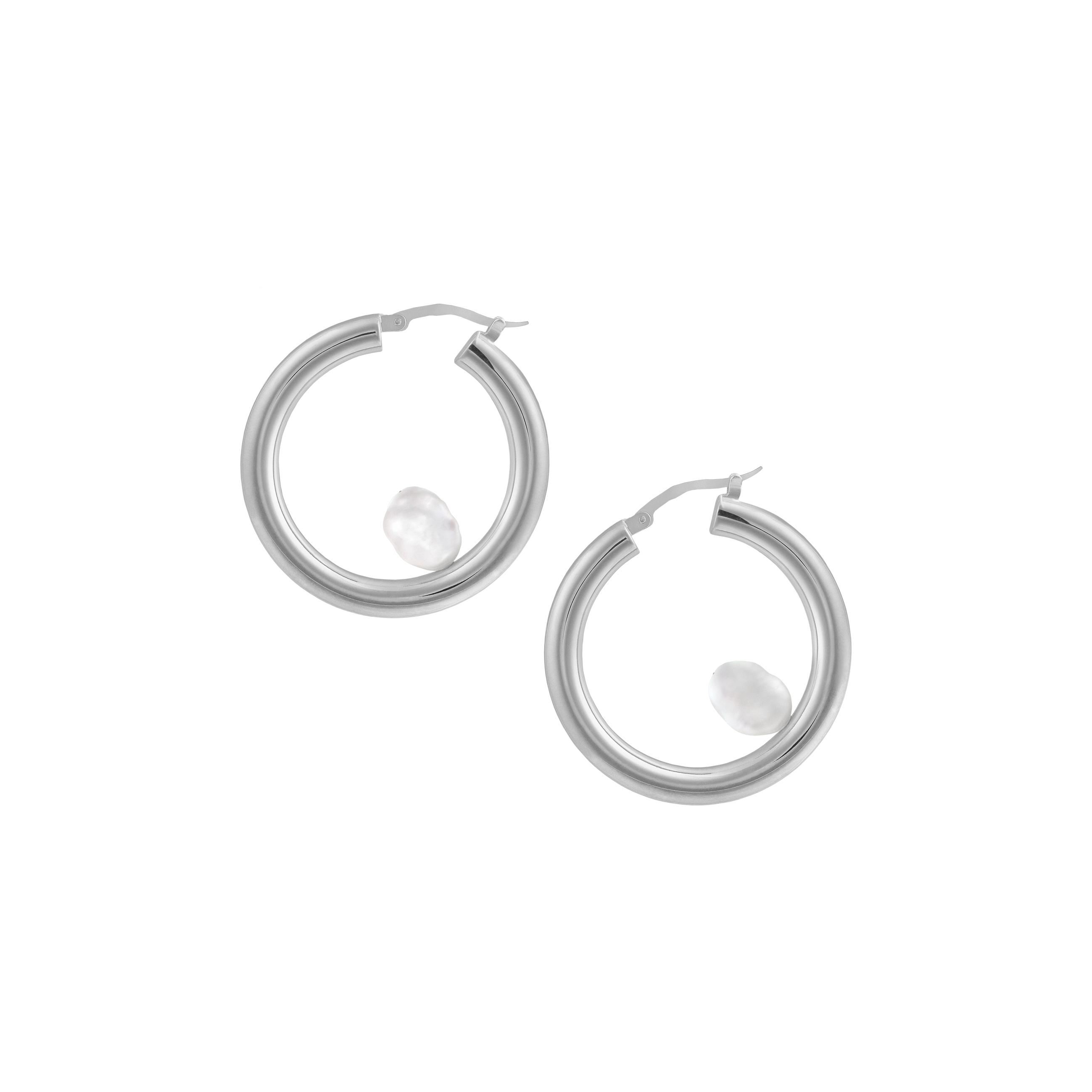 big hoop pearl/ silver