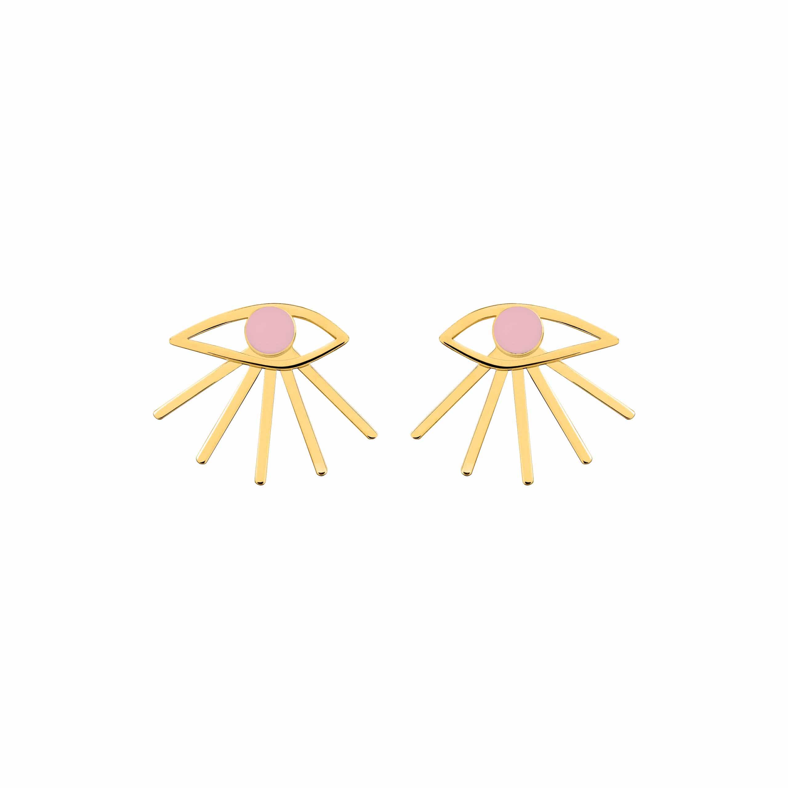 Mini Eye Earrings Pink
