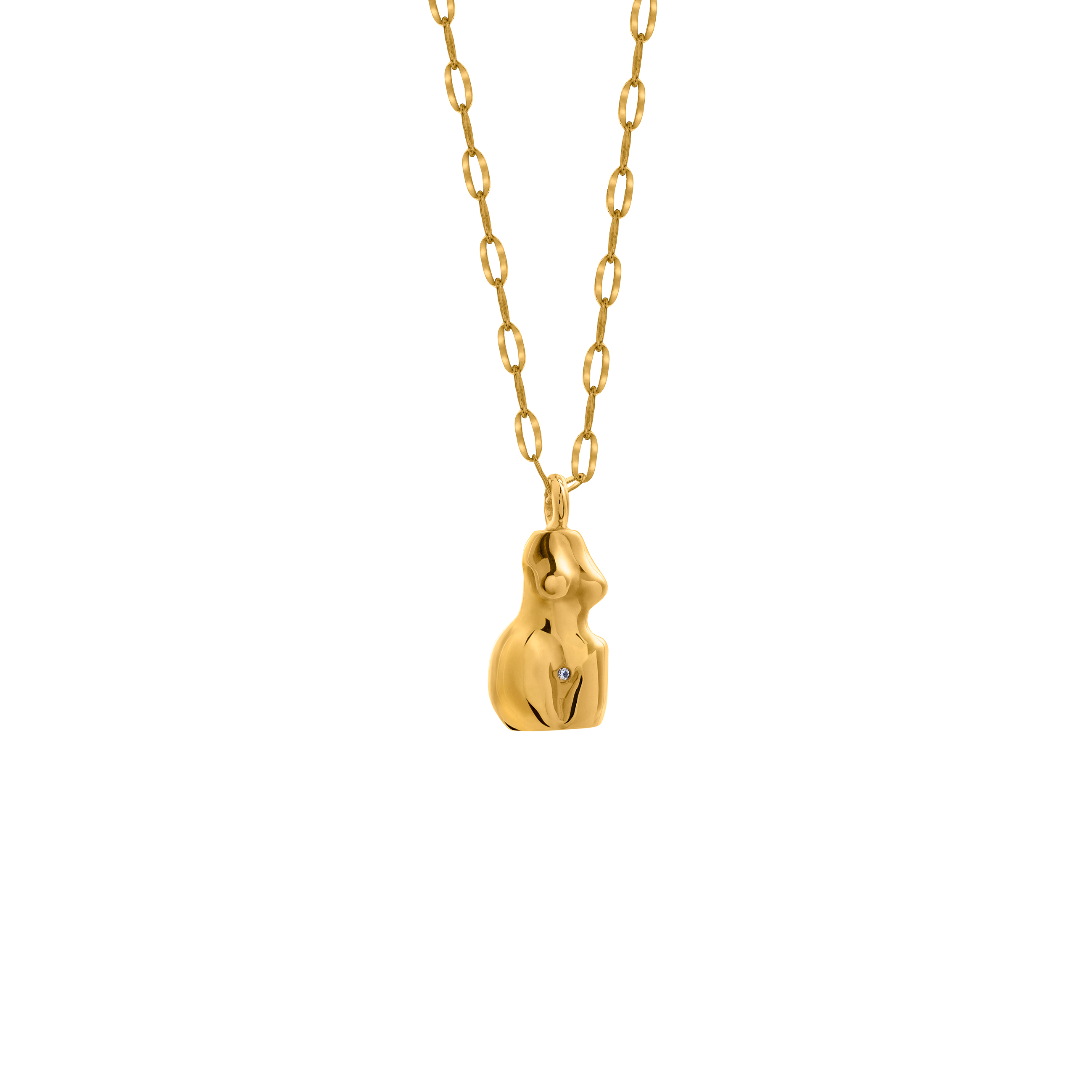 woman necklace 3D / gold zirconia