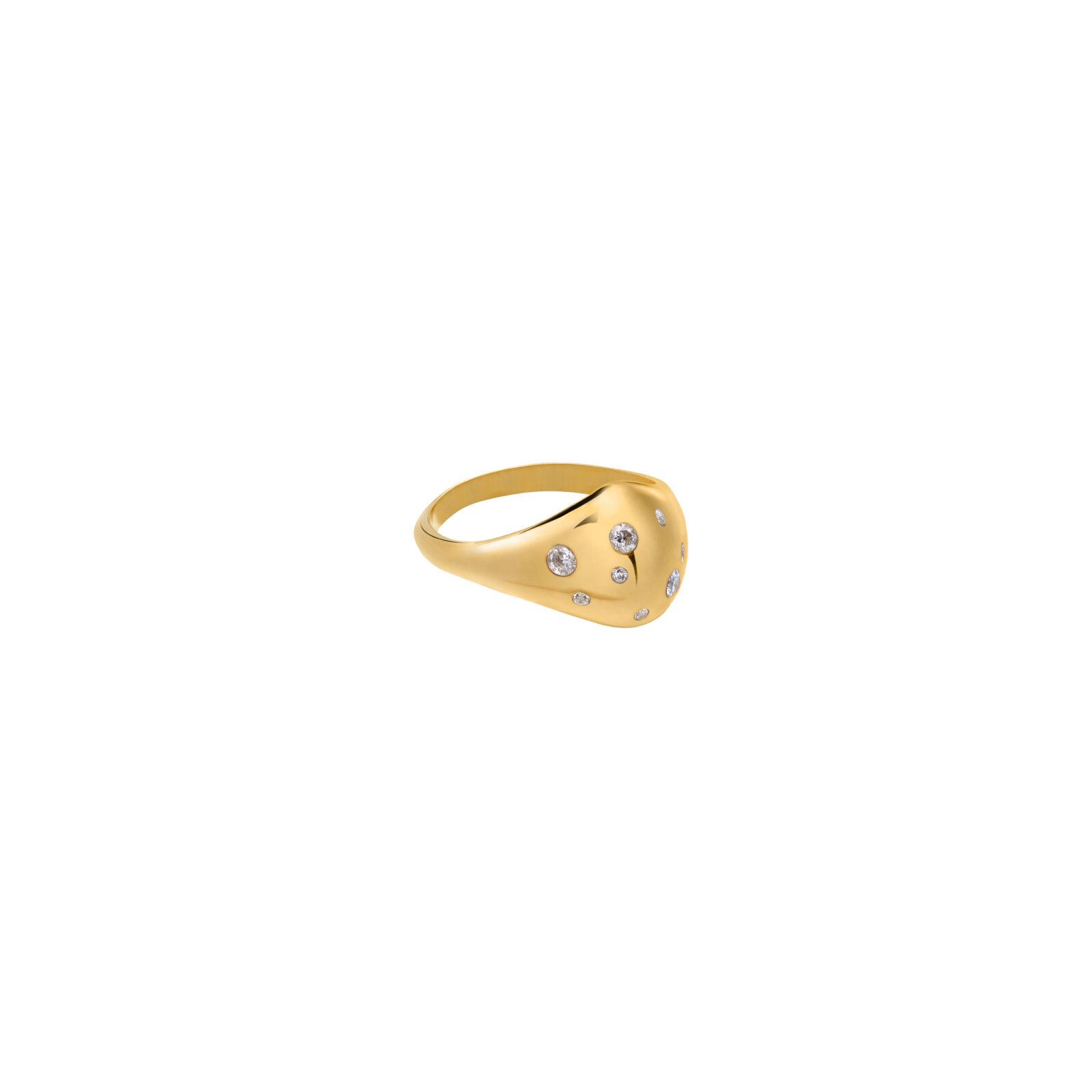 Sygnet Buble Zirconic Gold