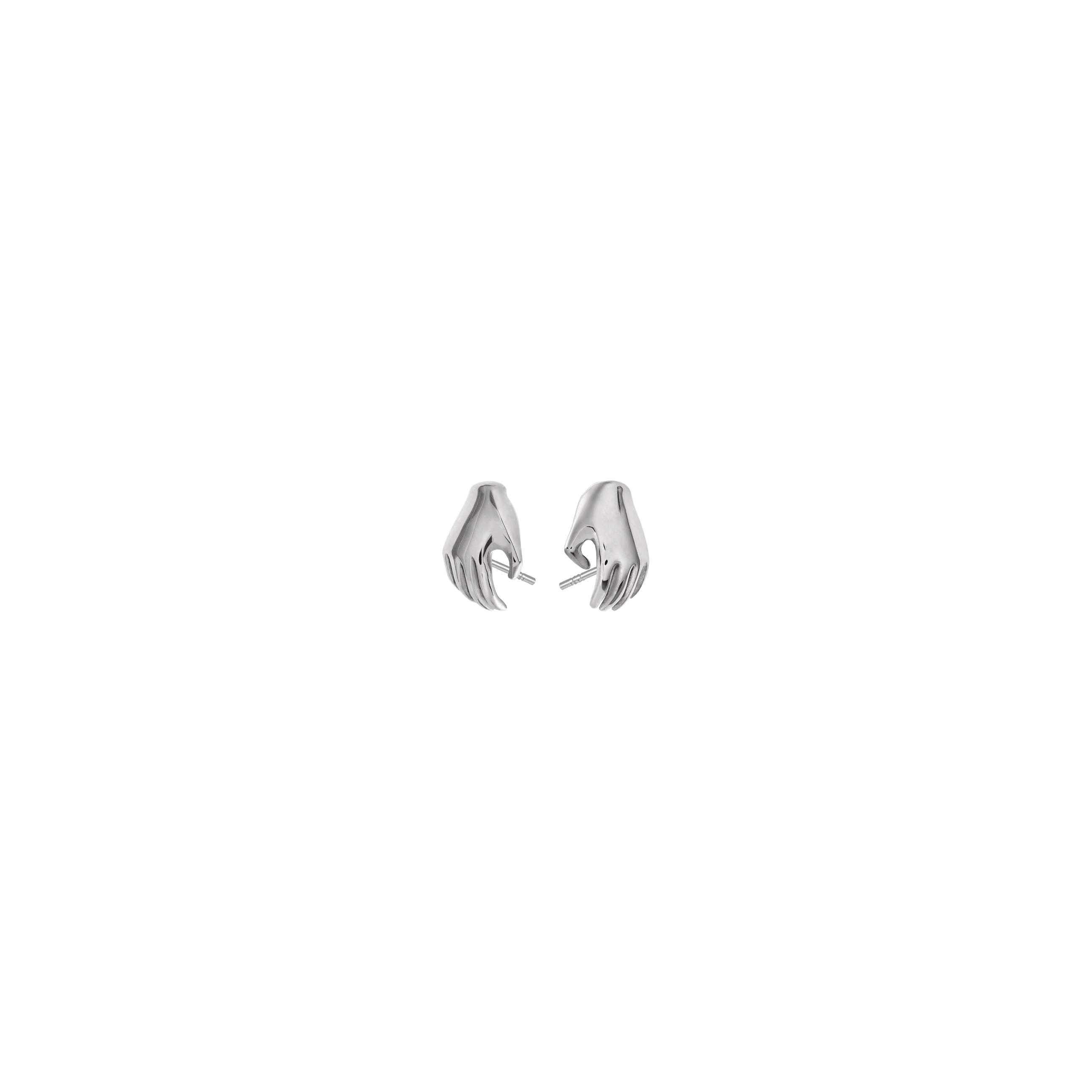 HAND EARRINGS 3D SILVER