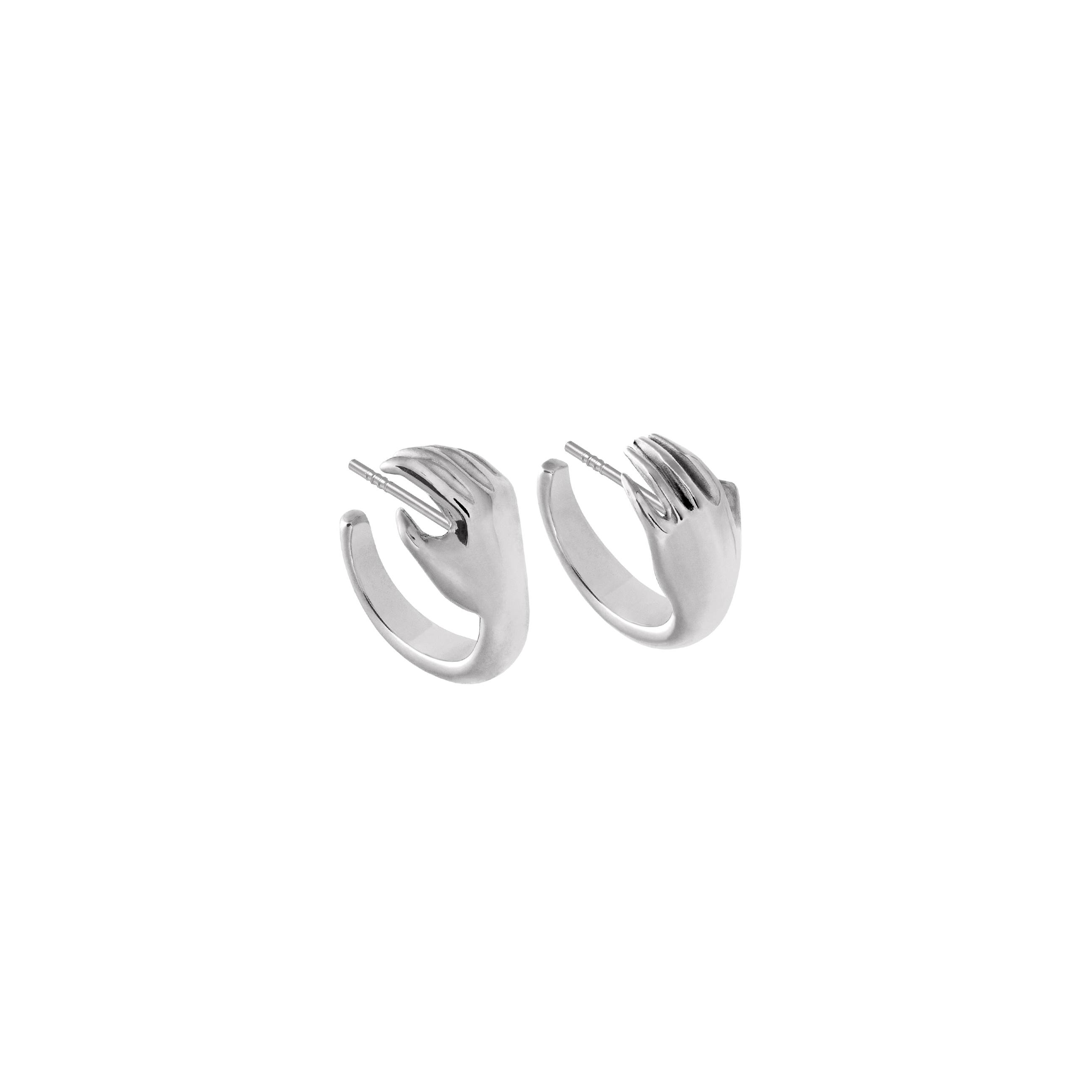 Hoop Earrings Hand 3D Silver