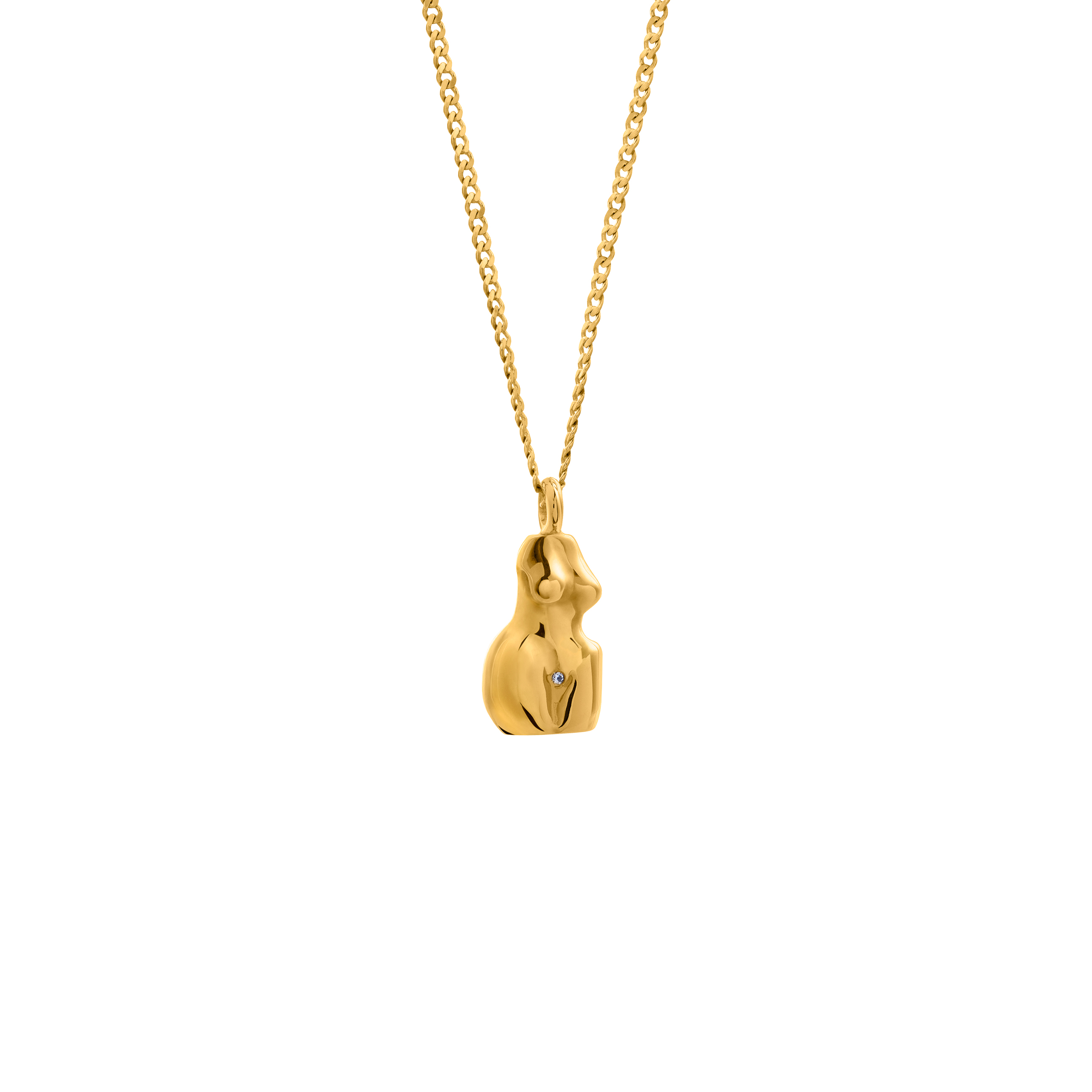 Simple Chain Woman 3D Gold Zirconia