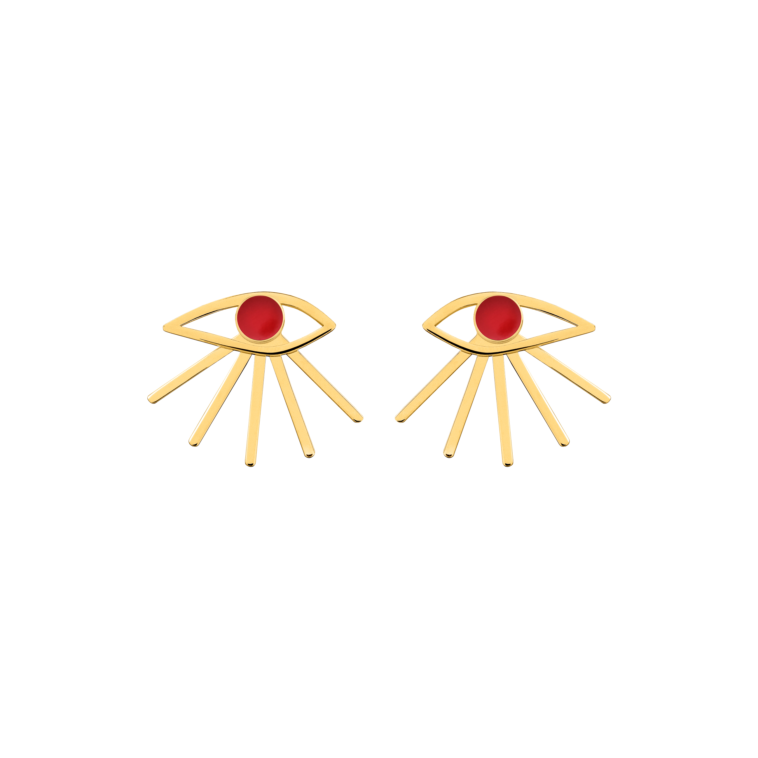 mini eye earrings red
