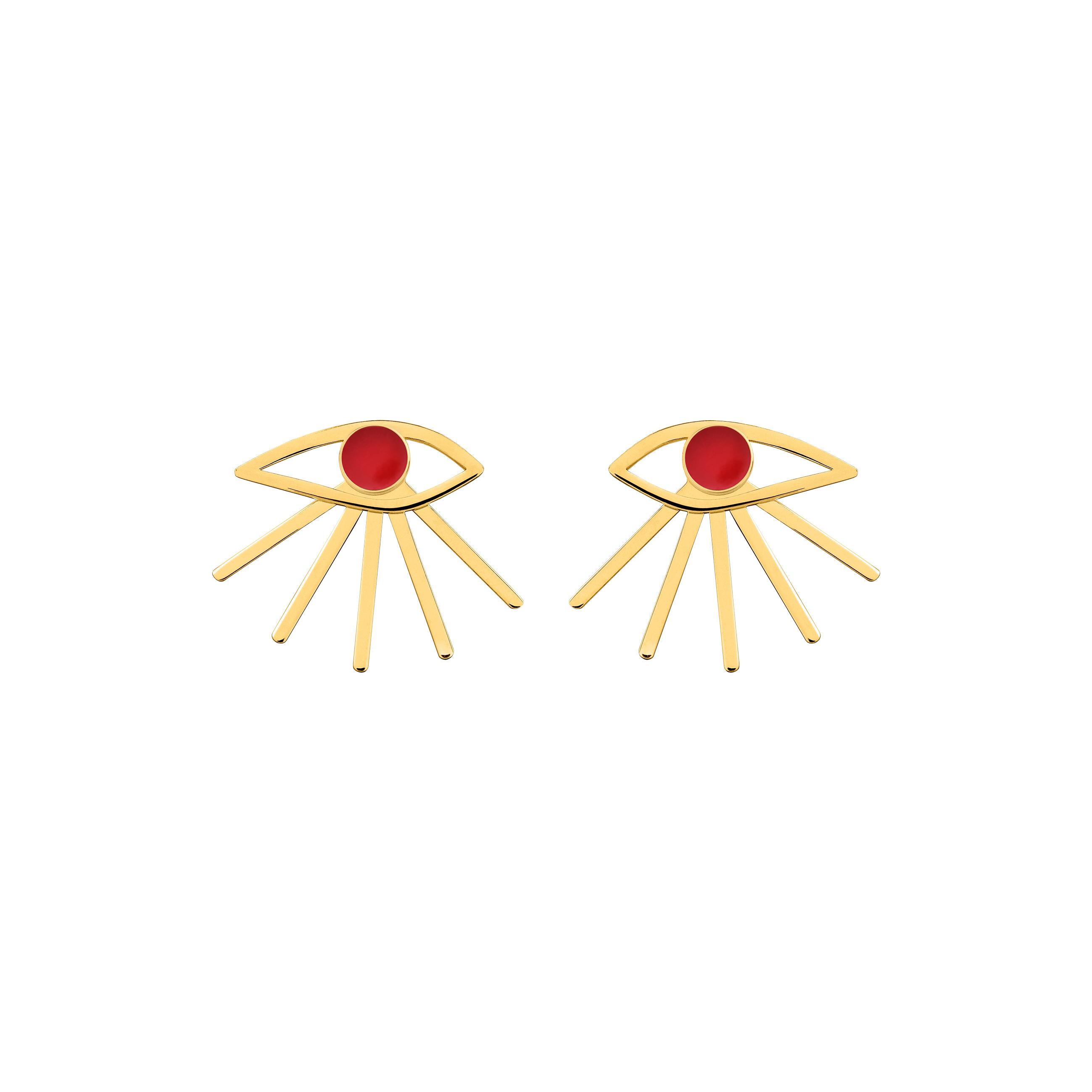Mini Eye Earrings Red