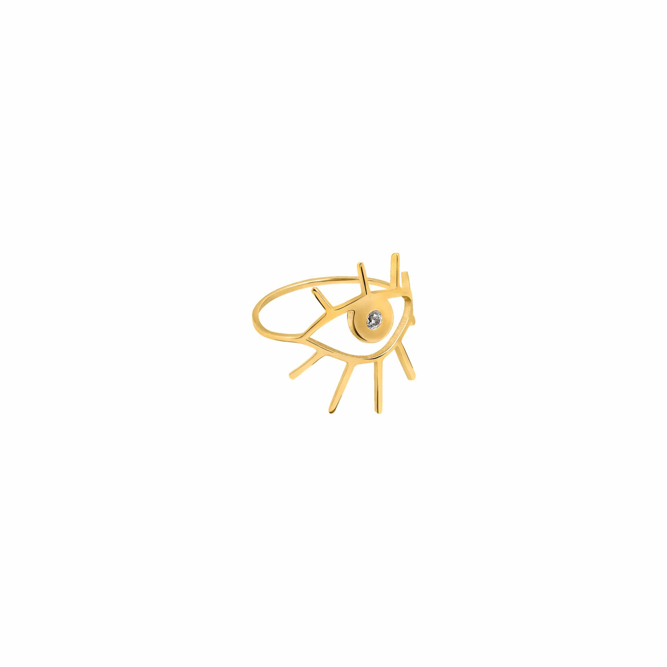 Eye Ring 3 Zirconia Gold