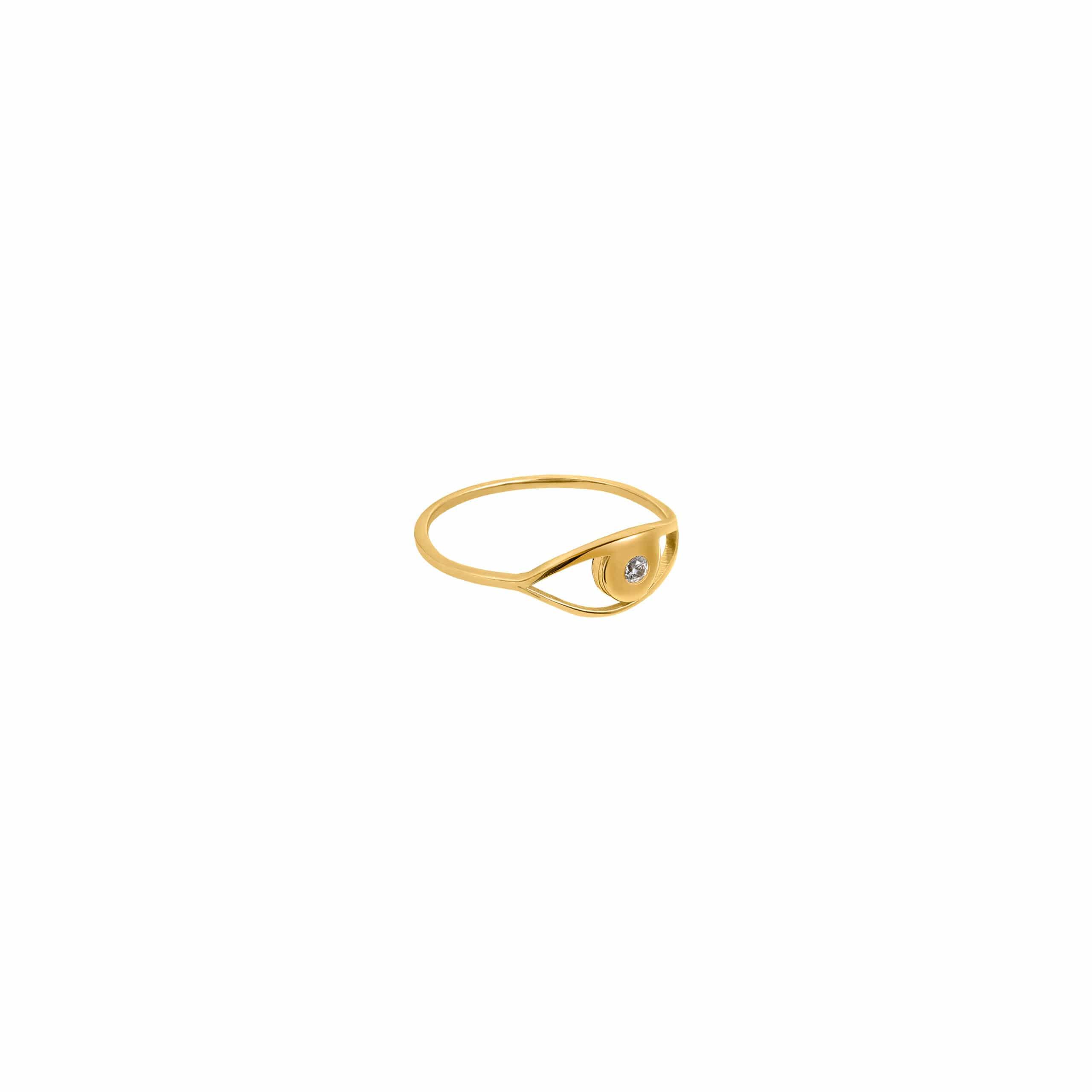 Eye Ring 4 Zirconia Gold